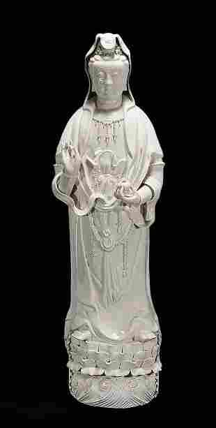 Chinese Blanc De Chine Standing Guanyin Statue