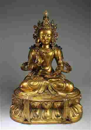 Ming Dynasty Gilt Bronze Bodhisattva Statue