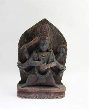 Antique Carved Wooden Tibetan Deity 'Da Wei De Jin