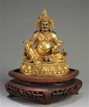 19th Century Chinese Gilt Bronze Bodhisattva Statue