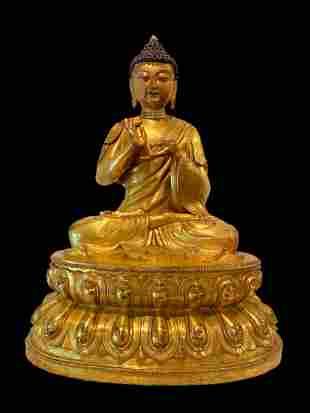 A Chinese Gilt Bronze Seated Buddha Statue
