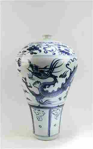 Chinese Blue & White Porcelain Meiping Vase