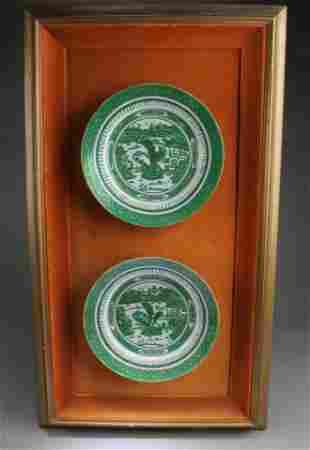 Framed Antique Pair of Famille Verte Plates