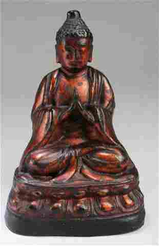 Antique Lacquered Bronze Buddha Statue