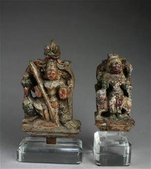 A Group of Two Antique Carved Wooden Deity Statues