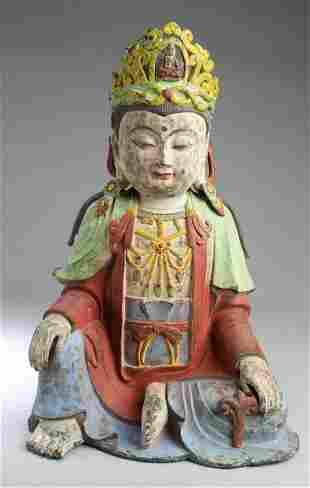 Chinese Polychrome Bronze Buddha Statue