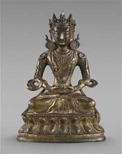 Antique Chinese Gilt Bronze Bodhisattva