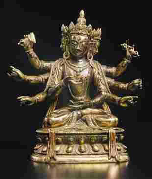 18th C Bronze Manjuvarja Figure