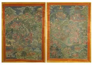 A SET OF TWO TIBETAN THANGKA ON SILK FRAME