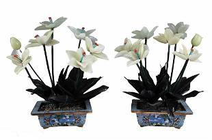 A Pair of Cloisonne Pot with Jade Flower Petals