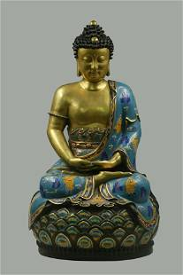 A Cloisonne Seated Buddha Statue