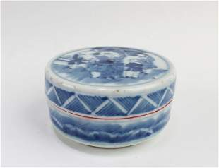 Antique Chinese Blue & White Round Red Ink Box