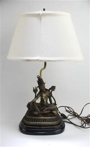 Antique Bronze Bodhisattv Statue With Table Lamp