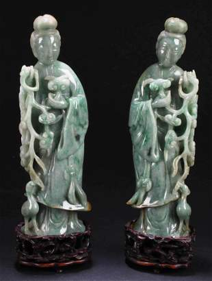 A Pair of Chinese Carved Jade Deity Statues