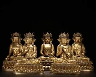 A Group of Five Gilt Bronze Buddha Statue