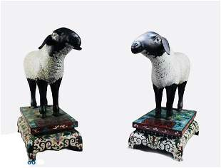 A Pair of Chinese Cloisonne Sheep Statues