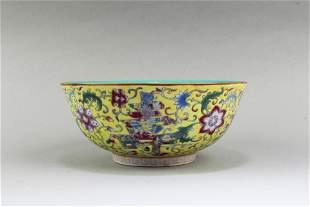 Chinese Famille Jaune Porcelain Bowl