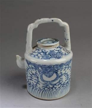 Antique Blue & White Teapot