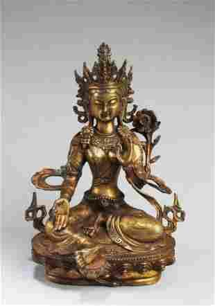 A Gilt Bronze Bodhisattva Statue