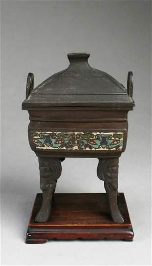 Chinese Bronze Square Shaped Incense Burner