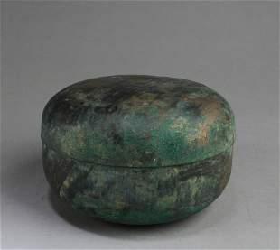 A Korean Bronze Round Box