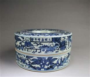Chinese Blue & White Porcelain Fruit Platter
