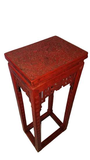 Chinese Cinnabar Lacquered Side Table