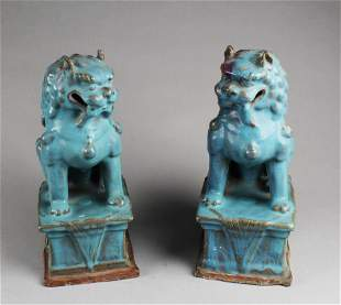 A Pair of Junyao Porcelain Foo Dog Displays