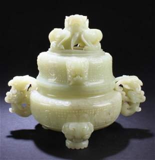 Chinese Carved Nephrite Jade Censer with Lid, GIA
