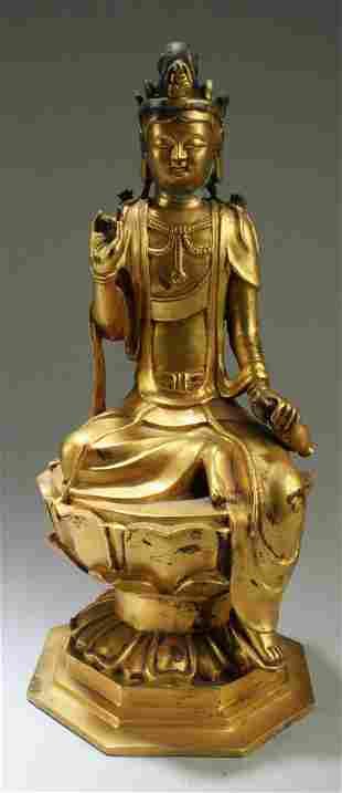 Chinese Gilt Bronze Guanyin Statue