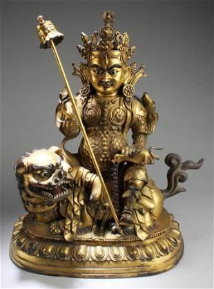 18th C. Chinese Gilt Bronze Bodhisattva Statue