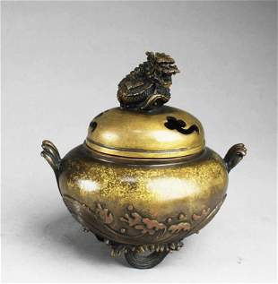 Chnese Bronze Censer With Lid