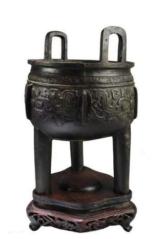 Antique Bronze Tripod Censer
