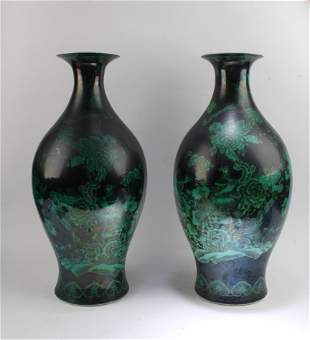 A Pair of Dark Green Color Porcelain Vases