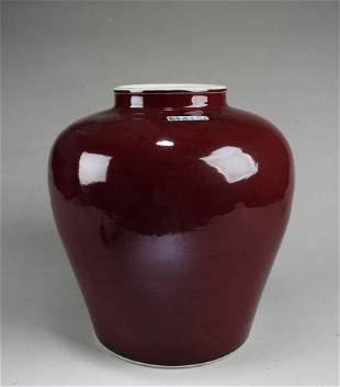 Chinese Ox Blood Color Porcelain Jar