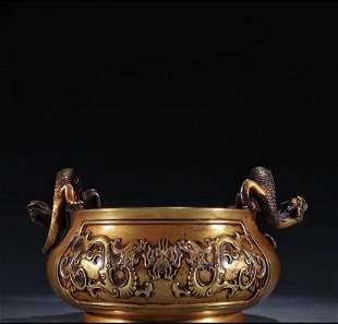 A Gilt Bronze Incense Burner