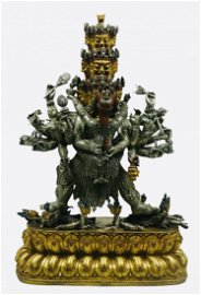 Mighty And  Exquisite Gilt-Silver Vajra Warrior