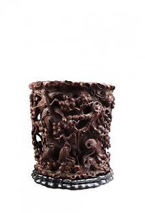 A Carved Agarwood Brushpot