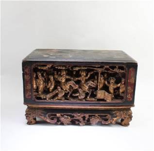 Antique Carved Gilt Gold Wooden Box