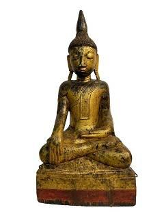 Antique Gilt Wooden Buddha Statue