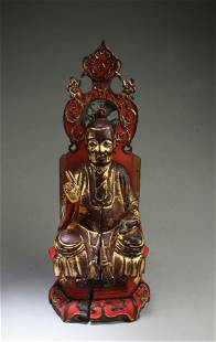 A Carved Gilt Wooden Buddha Statue