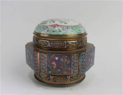 A Cloisonne Box with Porcelain Lid