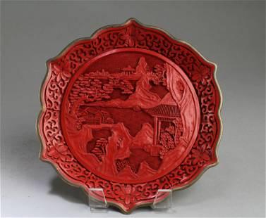 A Cinnabar Lacquer Plate
