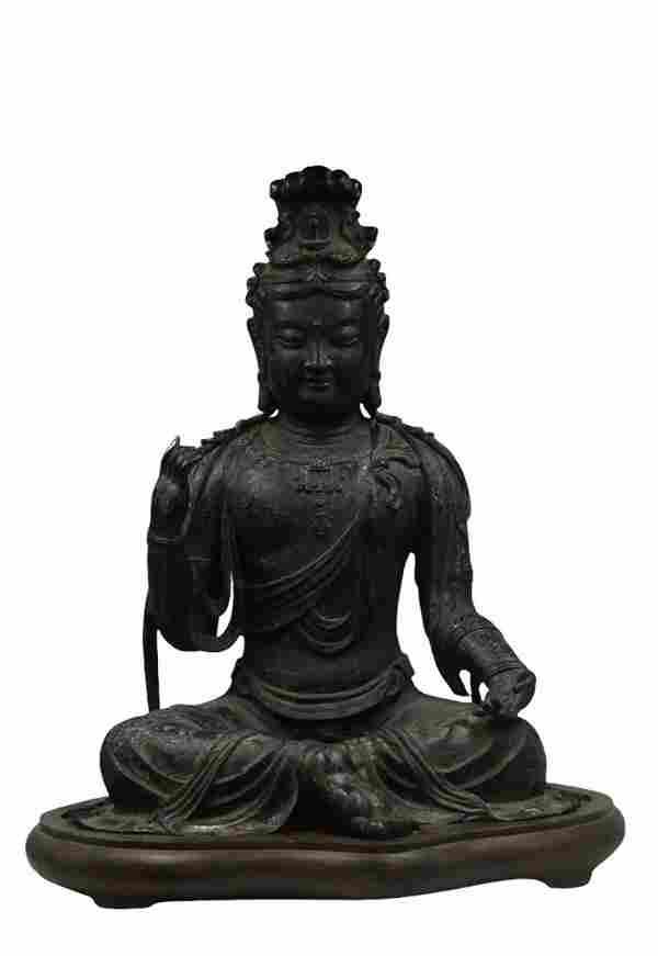 Chinese Bronze Seated Buddha Statue