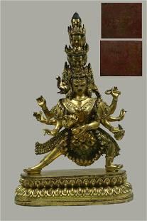 A Gilt Bronze Avalokiteshvara Statue