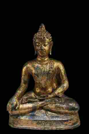 Antique Gilt Bronze Buddha Statue