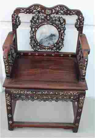Chinese Hardwood Armrest Chair with Marble Inlay