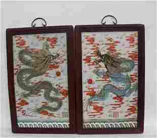 A Pair of Hardwood Framed Porcelain Plaques