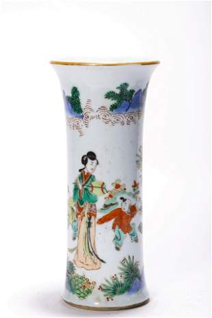 A Wucai Figural Beaker Vase