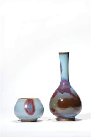 A Set Of Two Purple Splashed Bottle Vase, Ovoid Jar
